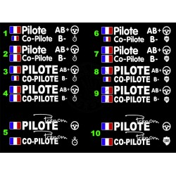 Lot de stickers pilote-copilote (2 cotés)