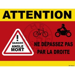 Sticker ATTENTION danger Angle Mort droite camion 300x230mm