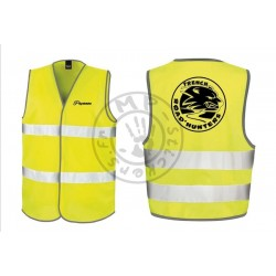 Gilet de sécurité FRENCH ROAD'HUNTERS jaune fluo Homologué 2 bandes Version inversée